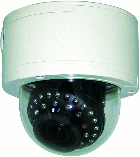 Outdoor Vandal Resistant IR Dome Camera with Cable Mgmt, 650TVL