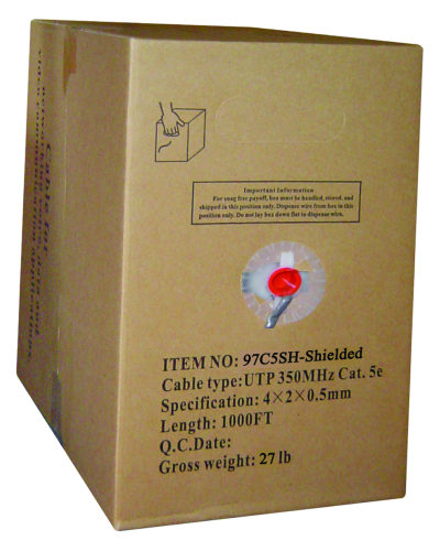CAT5E Bulk Cable, 1000FT, Shielded, Solid