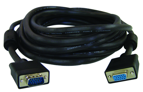 SVGA Extension Cable, HD15 M/F, 2 Ferrules, 25FT