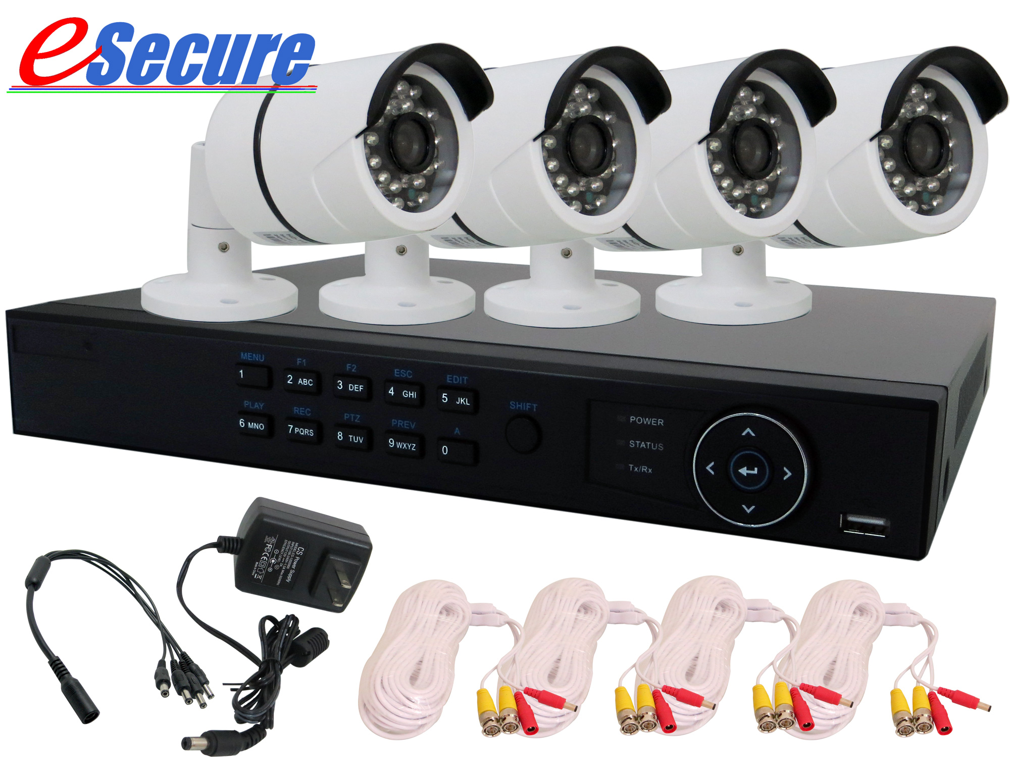 eSecure HD-TVI DIY Package, 4 CH DVR 4 IR Bullet Camera Kit