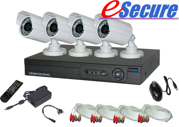 eSecure DIY Retail Package, 8 CH DVR w/ 4x 600TVL 26 LED IR Bull